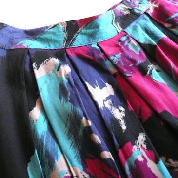 80's floral print rayon skirt