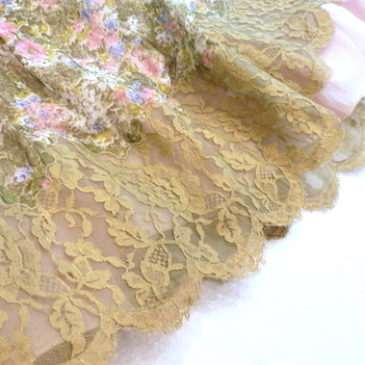 50〜60's green lace organdy dress