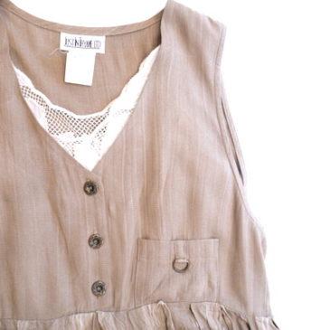 80's beige block check jumper dress