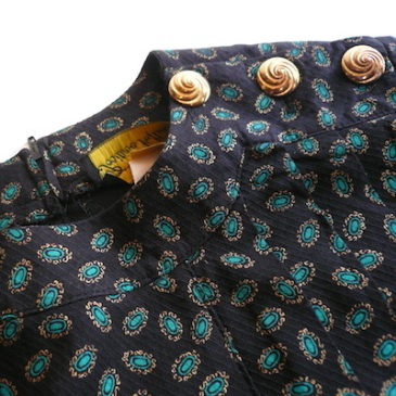 80's paisley gold button dress