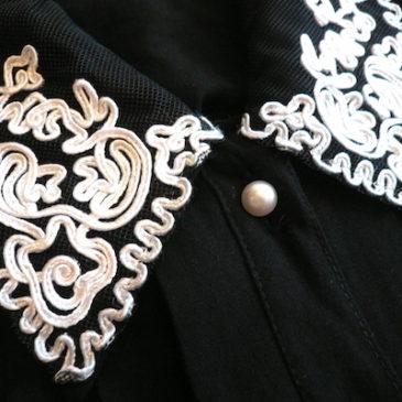80〜90's cording collar black rayon dress
