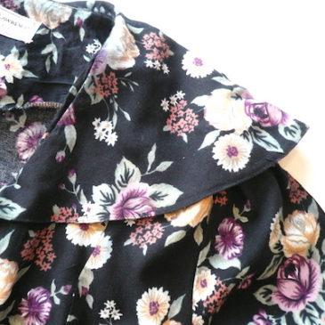90's big collar floral printed maxi dress