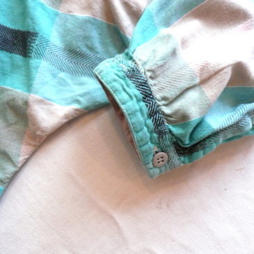 80's pastel green plaid cotton shirt & sand beige skirt