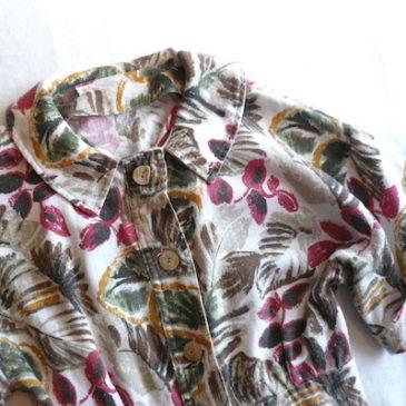 70's leaf print dress