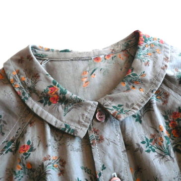 60's flat color floral printed cotton dress