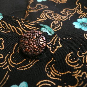 80〜90's blue gold floral pattern jumpsuits