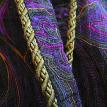 90's purple paisley quilting robe & 80's olive green pants