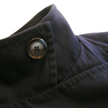 80〜90's navy long trench coat