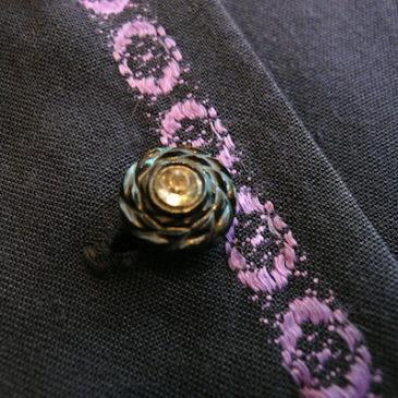 50's purple embroidery stripe dress