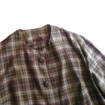 60's brown plaid short jacket