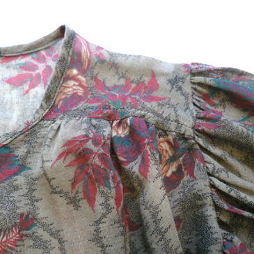 70's flower pattern sheer blouse