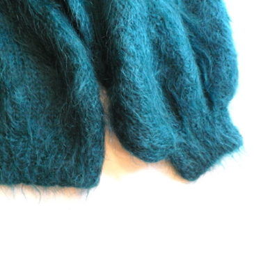 80's sea green mohair sweater & velour tight skirt