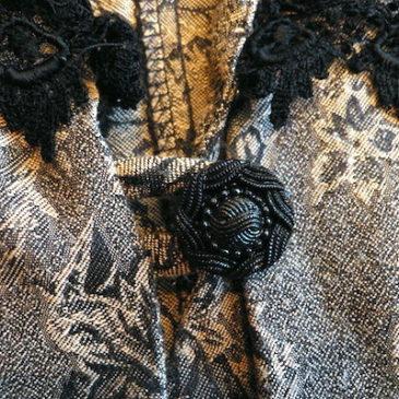80〜90's jacquard printed blouse & knit skirt
