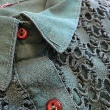 90's emerald green lace yoke shirt & knit pleated skirt