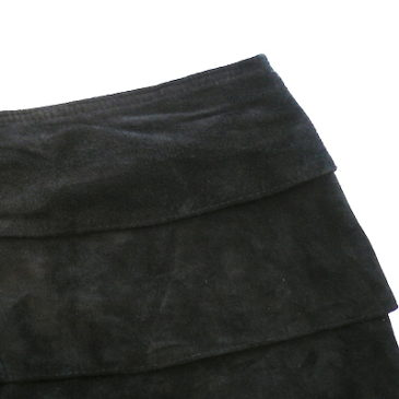 80's green mohair sweater & black suede tight skirt