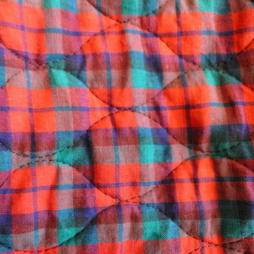 70's red plaid quilting maxi dress