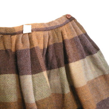 90's knit cardigan & 60〜70's plaid wool skirt