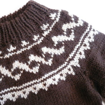 used nordic pattern knit & 70's flair skirt