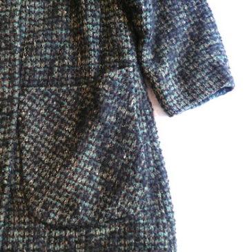 60's black fake fur tweed coat