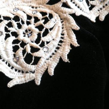 50〜60's black velours dress