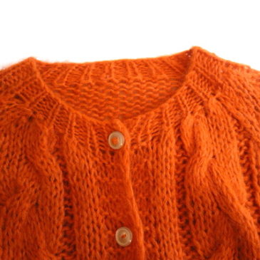 60~70's orange mohair cardigan & 80~90's black wool blend pants