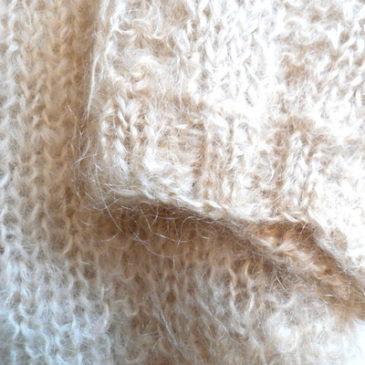 60's metal button mohair knit cardigan & 70's flair skirt