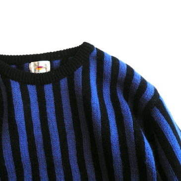 90's blue×black stripe sweater