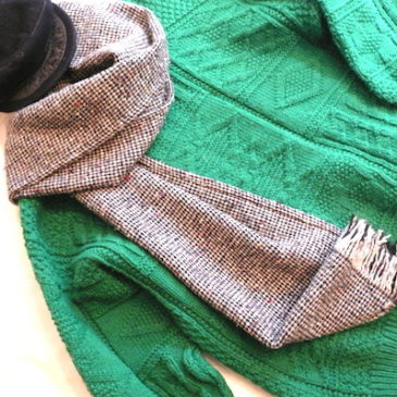70〜80's green aran knit sweater
