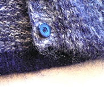 80〜90's blue blend yarn mohair cardigan & black skirt