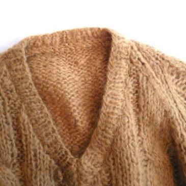 70〜80's mustard yellow mohair sweater & 70's skirt