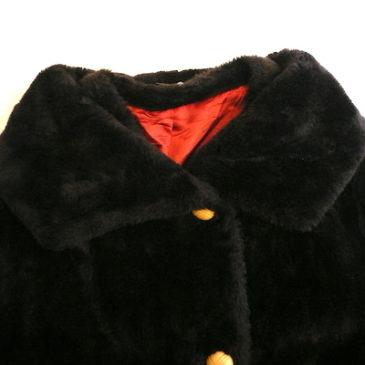 60's dark brown fake fur coat