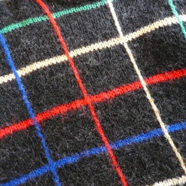 80's multi color check sweater