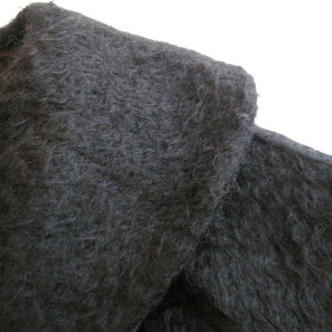 50〜60's black mohair ribbon coat
