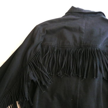 90's fringe black cotton jacket