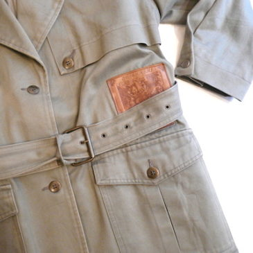 late80〜90's leather patch trench coat