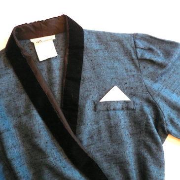 80's velour color blue dress