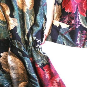 80's flower printed black cotton dress