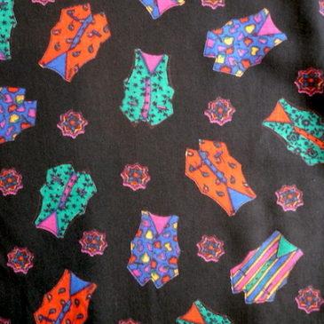 80〜90's olive green shirts & vest pattern rayon skirt