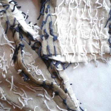used beige shaggy cotton jacket & 90's denim skirt