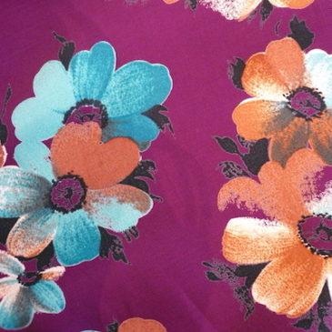 80's purple floral pattern dress