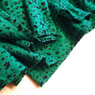 80~90's denim jacket & 80's emerald green skirt