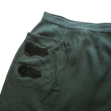 50〜60's big button green plaid skirt