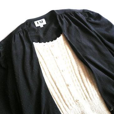 80's monotone pindot poly dress