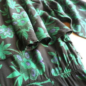 80's studs blouson & green rayon dress