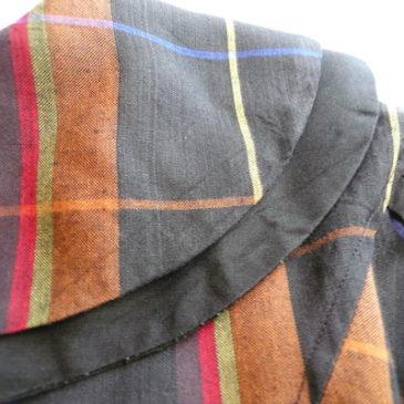 80〜90's brown plaid big collar dress