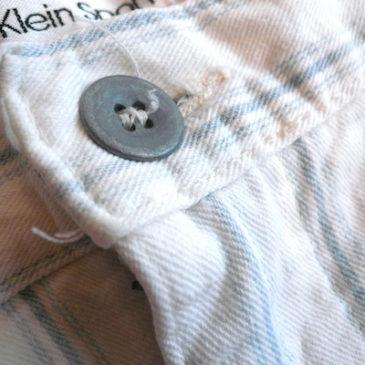 used organic linen hoodie & 90's Calvin Klein sports stripe pants