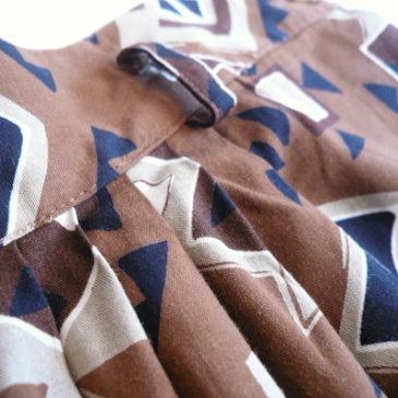 used brown pattern rayon long skirt