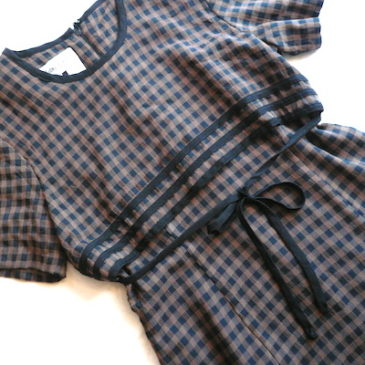 90's brown black gingham check dress