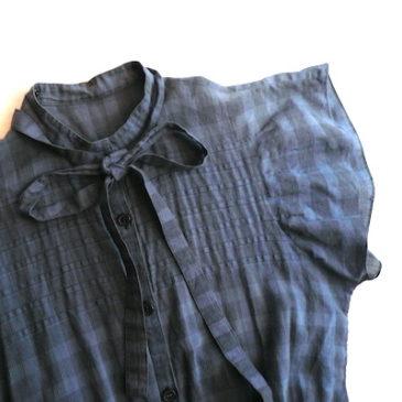 70's blue cotton dress