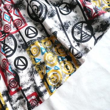 80〜90's art print flared skirt